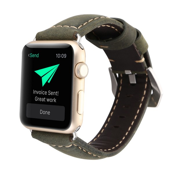 Leather Apple Watch Band Military Green