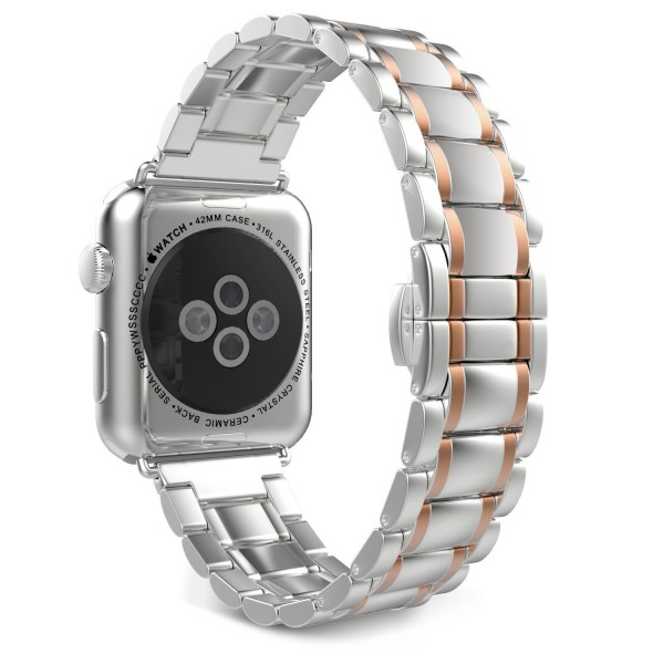 Stainless Steel Apple Watch Strap Full Silver Rose Gold