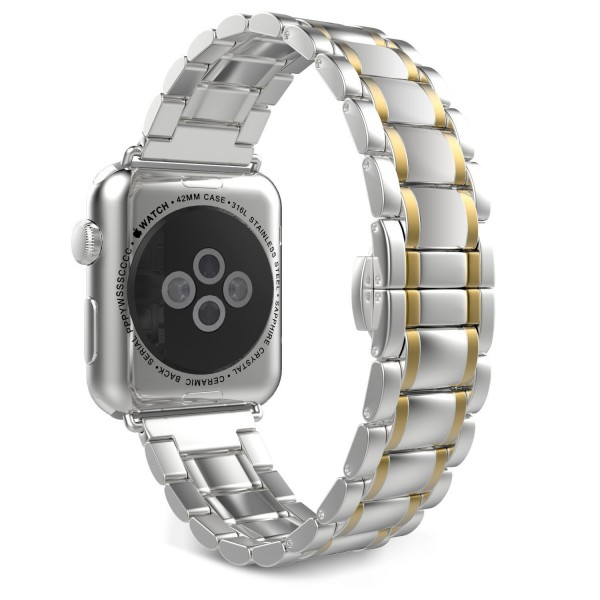 Stainless Steel Apple Watch Strap Full Silver Gold