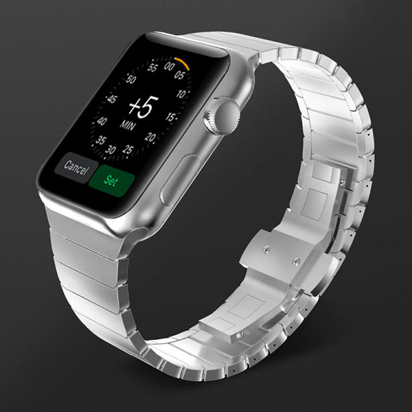 Silver Stainless Steel Apple Watch Strap